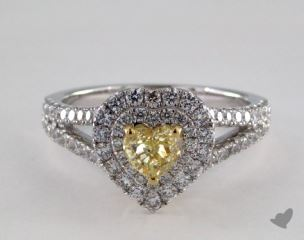 18K White & Yellow Gold 1.26ctw Heart Yellow Diamond Ring