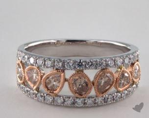 14K White & Rose Gold 0.96ctw Champagne & Pave Diamond Ring