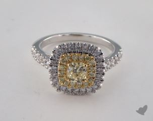 18K White & Yellow 1.41ctw Radiant Yellow & Pave Diamond Ring