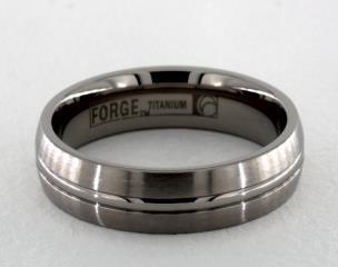 Titanium 6mm Comfort-Fit Satin-Finished Center Concaved Cut Design Ring