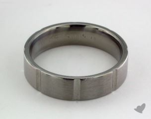 Titanium 6mm Comfort-Fit Satin-Finished Vertical Cuts Design Ring