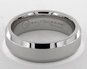 Cobalt chrome™ 7mm Comfort-Fit High Polished Beveled Edge Design Ring