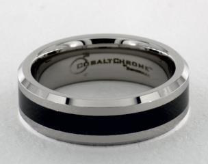 Cobaltchrome™7mm Comfort-Fit Ceramic Beveled Edge Design Ring