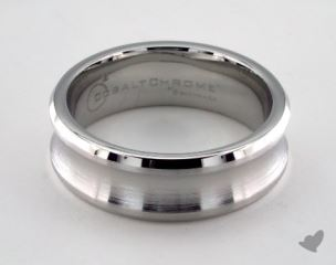 Cobalt chrome™ 7.5mm Comfort-Fit Satin-Finished Concave Design Ring