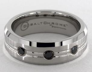 Cobalt chrome™ 7.5mm Comfort-Fit  3-Stone Black Diamond Design Ring