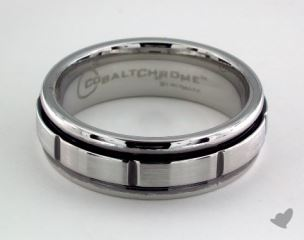 Cobalt chrome™ 7mm Comfort-Fit Satin-Finished Round Edge Blackened Sectional Design Ring