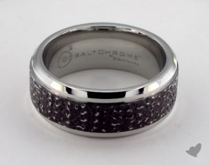 Cobalt chrome™ 9mm Comfort Fit Black Micro-hammered Ring