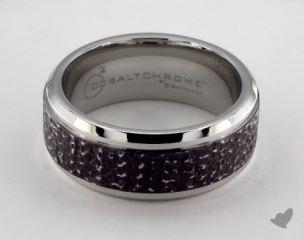 Cobalt chrome™ 9mm Comfort Fit Black Micro-hammered Ring