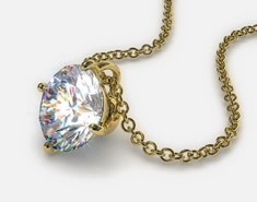 18K Yellow Gold 0.25ct H-I, SI Diamond Wire Basket Pendant